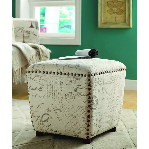 Coaster Home Furnishings Ottoman Upholstered in French Print Fabric with Nailhead Trim