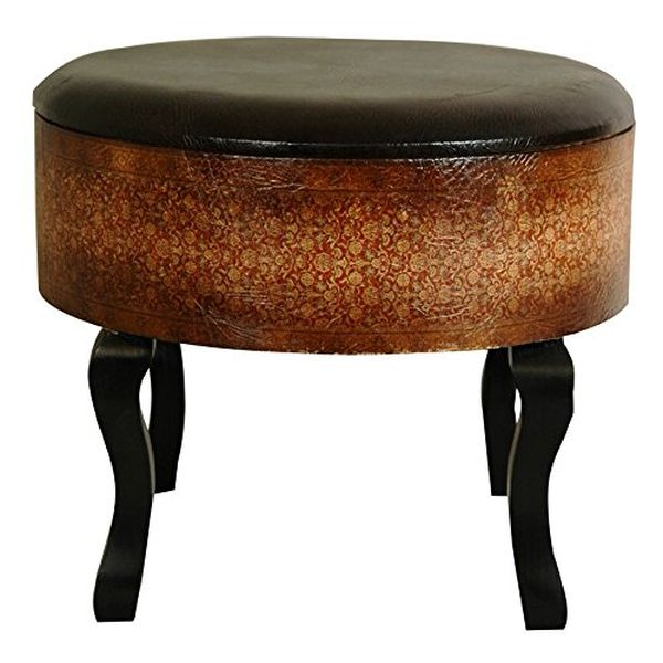 Olde-Worlde Vintage Ottoman in Faux Leather Finish