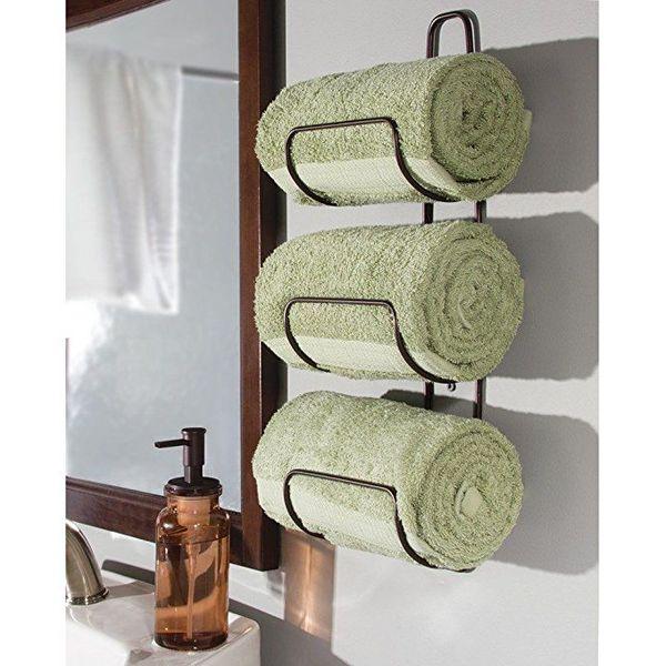 mDesign Wall Mounted Towel Rack, Bronze