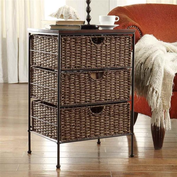 4D Concepts Farmington Wood-Top Wicker Nightstand