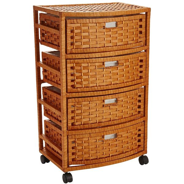 Oriental Furniture Natural Tall Wicker Nightstand