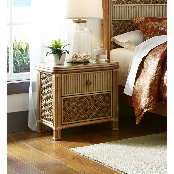 Spice Islands Mandalay 2 Drawer Wicker Nightstand