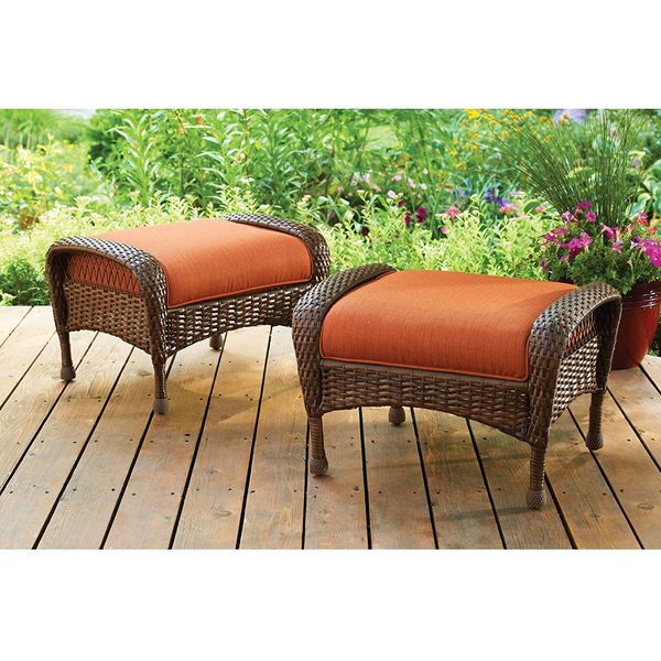 Ebony All-Weather Wicker Ottoman with Cushion