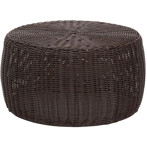 Household Essentials Resin Wicker Ottoman, Brown