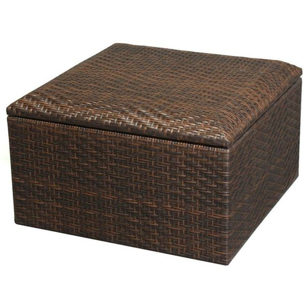 Small Wicker Brown Indoor/Outdoor Storage Ottoman