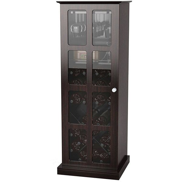 Atlantic Windowpane Wine Cabinet in Espresso