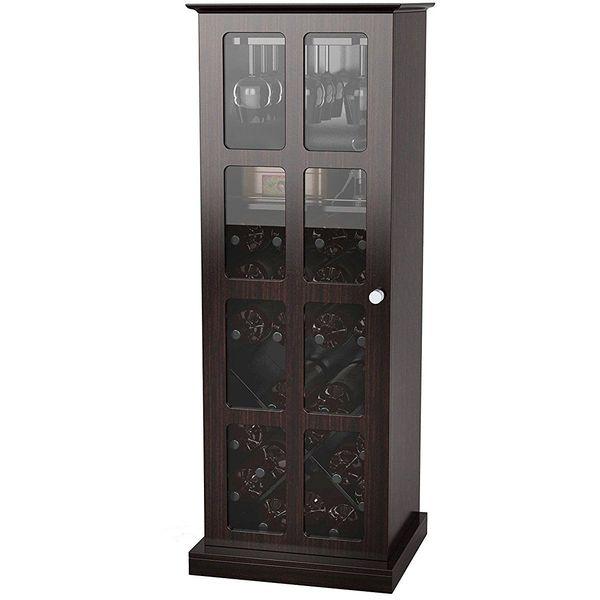 Atlantic Windowpane Wine Cabinet in Espresso