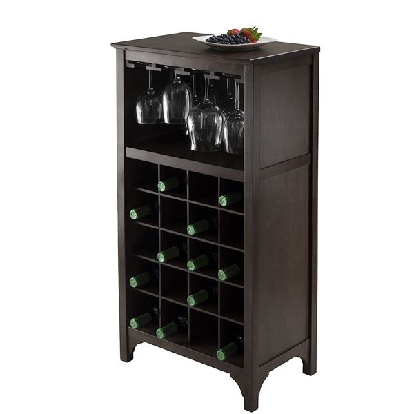 Winsome Ancona Wine Cabinet With Gl Rack