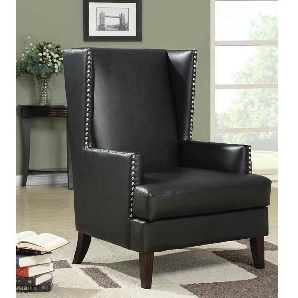 Coaster Home Furnishings Traditional Winged Accent Chair, Black
