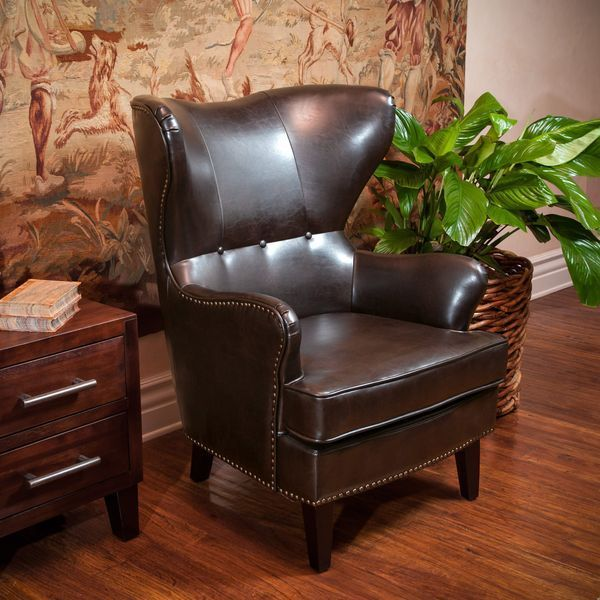 Romford Brown Leather Wingback Club Chair w/ Nailhead Accents