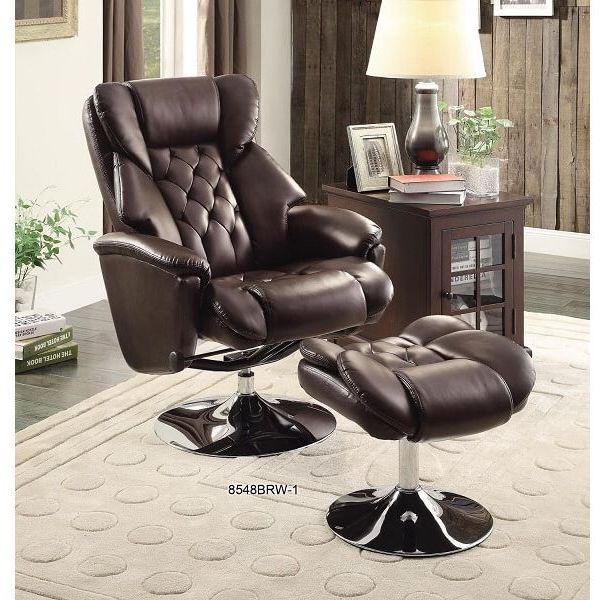 Homelegance Swivel Reclining Leather Wingback Chair with Ottoman