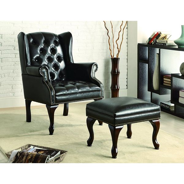 Coaster Home Furnishings Traditional Leather Accent Chair, Cherry/Black