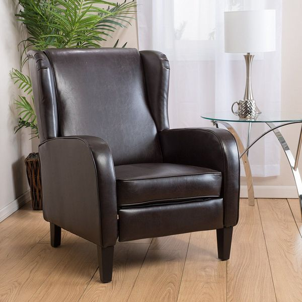 Hadley Espresso Leather Wingback Club Chair Recliner