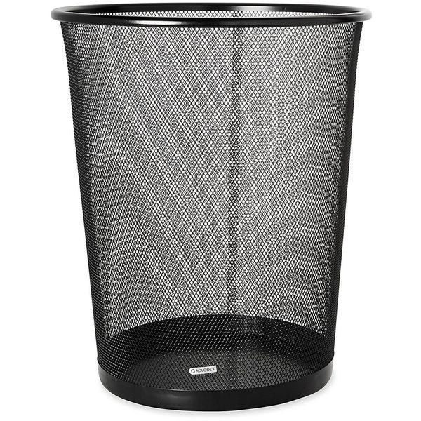 Rolodex Mesh Round Wastebasket, Black