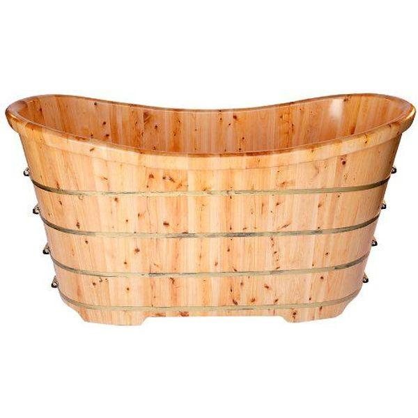 ALFI Free Standing Cedar Wood Bath Tub