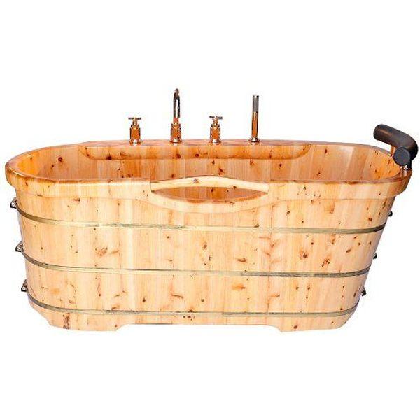 ALFI Free Standing Cedar Wood Bath Tub with Chrome Tub Filler