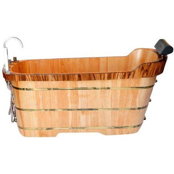 ALFI Free Standing Oak Wood Bathtub with Chrome Tub Filler