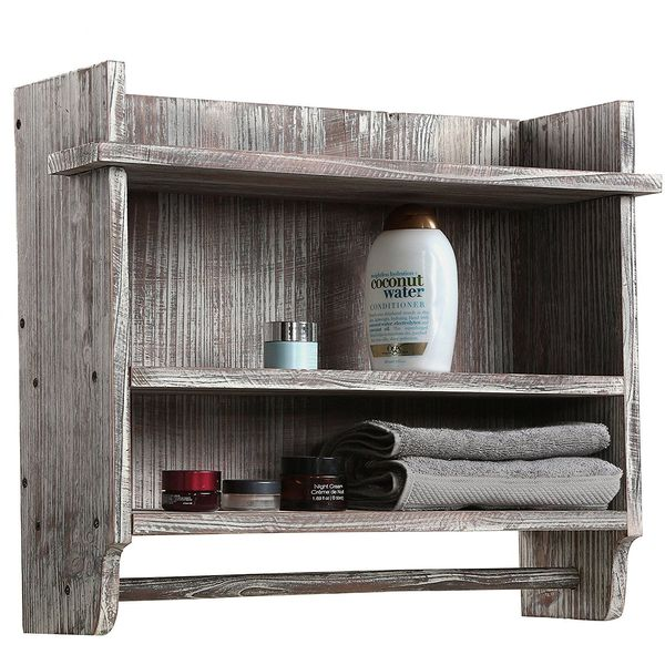MyGift Wall Mounted Torched Wood Bathroom Shelf with Towel Bar