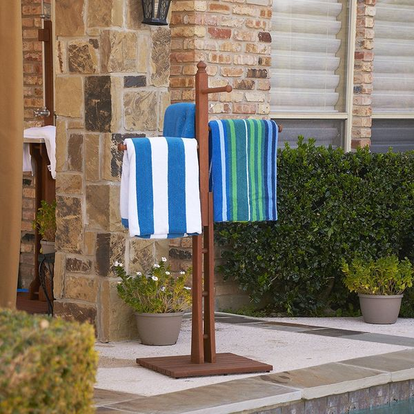 Southern Enterprises Wooden Towel Rack, Dark Brown Oiled Finish