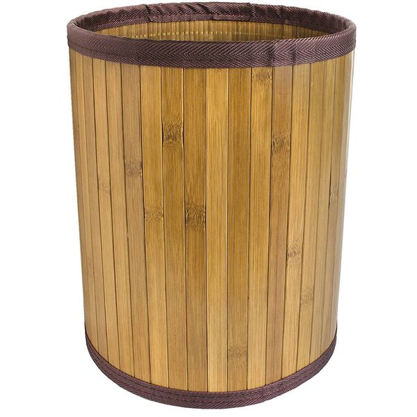 Ginsey Home Solutions Bamboo Trash Basket with Brown Trim