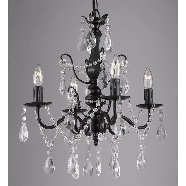4-Light Crystal and Wrought Iron Chandelier
