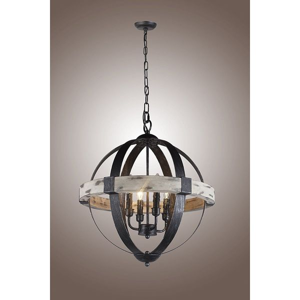 Castello Black Aspen Wrought Iron Globe Chandelier