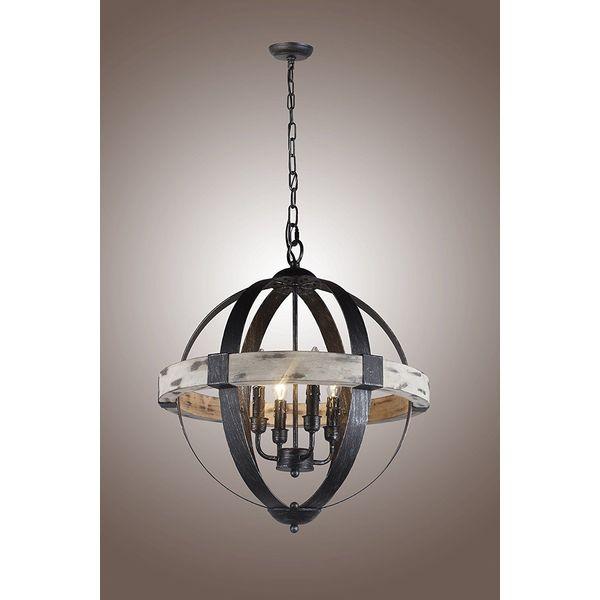 Castello Black Aspen Wrought Iron Globe Chandelier