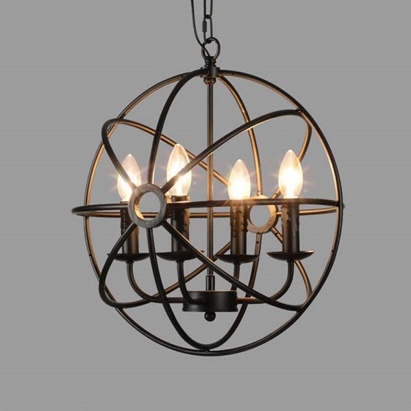 BAYCHEER Industrial Vintage Wrought Iron Metal Globe Chandelier