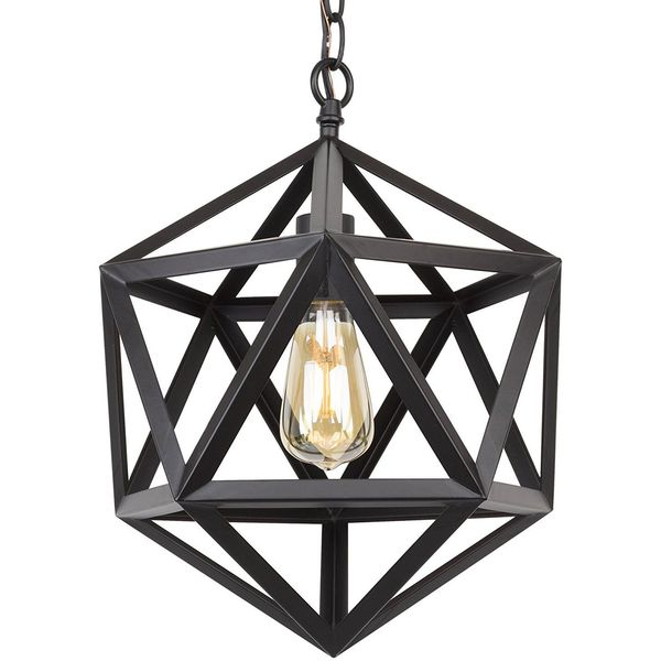 Revel 16-inch Industrial Black Wrought Iron Chandelier
