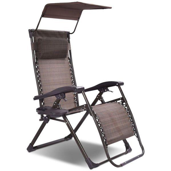 Goplus Folding Zero Gravity Chair with Sunshade